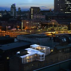 The Skyroom is a rooftop event space designed by David Kohn Architects above the Architecture Foundation's London offices.