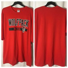 449 New NCAA NC State Wolfpack T-shirt Red School Logo Short Sleeve Cotton Top #Gildan #NCStateWolfpack