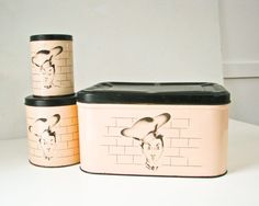 Canisters Bread Box with Chef Design Vintage Kitchen by BeeJayKay