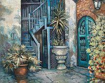 Brulatour Patio - Barrio Francés, Patio, Arte Nuevo Orleans, Brulatour, Patio, Arte Nuevo Orleans, Louisiana Arte de Nueva Orleans artista