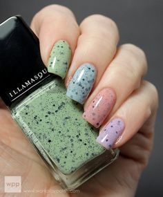 Illamasqua Speckled Nail Varnish: Scarce, Speckle, Mottle & Fragile (work / play / polish) close-up since it's too pretty.