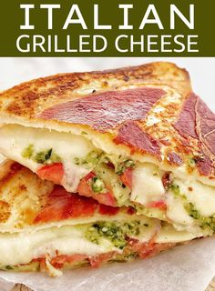 Feel like a grown up version of a grilled sandwich? This is the ultimate grilled cheese sandwich,super easy but super gourmet! With tomato, mozzarella and basil pesto then wrapped in prosciutto, this will blow your mind! Grilled Cheese With Tomato, Ultimate Grilled Cheese, Pesto Grilled Cheeses, Food With Cheese, Gourmet Cheese, Gourmet Sandwiches, Wrap Sandwiches, Panini Sandwiches, Grilled Sandwich Recipe