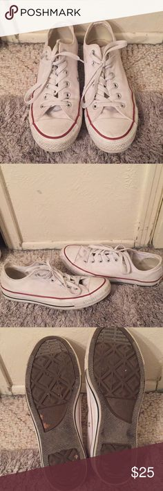 White converse Worn but in great shape size 9 converse Converse Shoes Sneakers