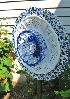 glass garden flower garden glass ceramic plate by ADelicateTouch1