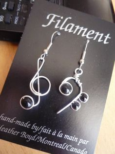 These treble/bass clef earrings will have sterling silver hooks for Jandal.