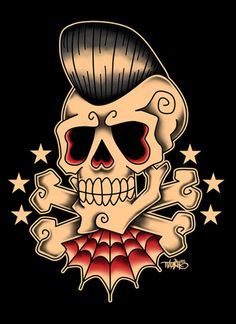 Tattoo flash style skull. Minus the rockabilly hair and what not. The skull for inspiration.