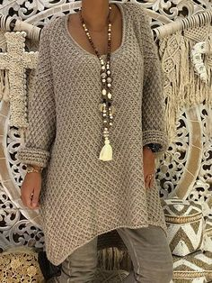 New Khaki Long Sleeve Casual Sweet Going out Pullover Sweater - Products - Sweaters Long Sweaters, Pullover Sweaters, Knitting Sweaters, Pullover Pullover, Winter Sweaters, Mode Hippie, Boho Fashion, Womens Fashion, Cheap Fashion