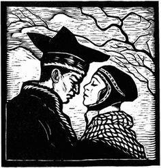 Gutt og jente - John Andreas Savio Lappland, Linoprint, Printmaking, Norway, Medieval, Folk, Photographs, Illustrations, Fantasy