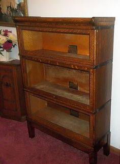 GLOBE WERNICKE Tiger Oak 3 Section Barrister Book Case 299