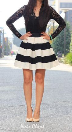 Stripe It Lucky Skirt in Black & White Fashion Mode, Moda Fashion, Cute Dresses, Cute Outfits, Look 2015, Inspiration Mode, Stripe Skirt, Fashion Gallery, Vintage Skirt