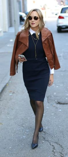 navy sheath dress with white button down, leather moto jacket, black tights, pointy toe pumps, sunglasses + gold jewelry {workwear, office style}