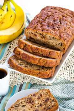 Gluten Free Banana Bread filled with mini chocolate chips and walnuts is perfectly moist, sweet, and delicious. This recipe is practically foolproof, and it is freezer-friendly if you can actually keep the family from devouring the entire loaf instantly. Slather a piece with butter for breakfast with a cup of coffee or tea, or enjoy … Banana Walnut Bread, Gluten Free Banana Bread, Chocolate Chip Banana Bread, Gluten Free Muffins, Banana Nut, Peanut Butter Banana, Gluten Free Chocolate, Mini Chocolate Chips, Banana Bread Recipes
