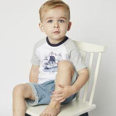 This cute summer tee goes great with the Bebe Mason Soft Short or Mason Print Soft Pant. Soft Pants, Soft Shorts, 2 Year Old Baby, Ahoy Matey, Stylish Baby, Raglan Tee, Baby Boy, Summer, Outfits
