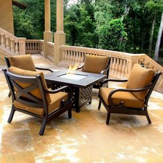 Lakeview Outdoor Designs Avondale Cast Aluminum 4 Person Patio Deep Seating  Set With Fire Pit