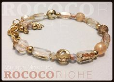 Czech Glass and Gold Plated Beads, Adjustable Length Bracelet, Feminine and Dainty! on Etsy, $24.95