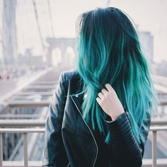 awesome Teal green ombre hair color idea for dark hair girls, pretty Hair Color...