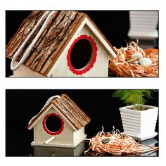 Creative Bird Nest Simulated Bark House Shape Bird Breeding Box Pet Toys at Banggood Bird Cages, St Kitts And Nevis, Pet Toys, Pet Supplies, Nest, Shapes, Box, Creative, House