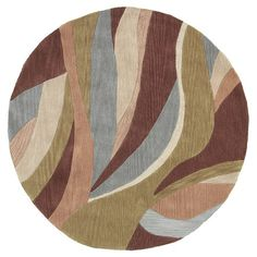 A collage effect created by free flowing abstract curves in a multi-color combination. Durable rug with a minimal shed construction. Adds flair to any home environment with hook and cut pile texturing Circle Rug, Star Rug, Rug Sale, Round Rugs, Throw Rugs, Joss And Main, Green And Purple, Blue Brown, Cotton Canvas