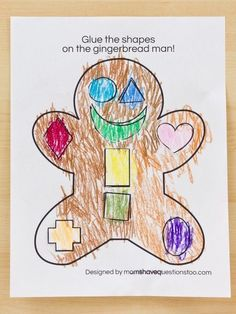 Gingerbread Man Cut and Paste Preschool Activity {FREE printable}