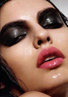 dark glossy eyelid