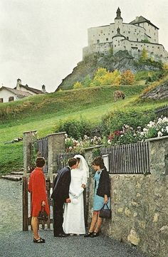 Newlyweds in Sparsels, Schloss Tarasp (GR), Switzerland | National Geographic | July 1969