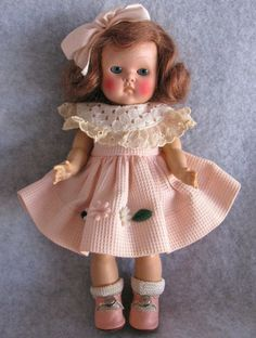 Vintage Vogue Strung Early Transitional Ginny Doll 1951 w/ Pink Centersnap Shoes