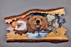 WHOA!!! This is ONE STUNNING Wood Carving with TONS of Totem Energy from Bear, Eagle & Wolf!!  by DavydovArt