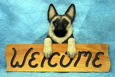 German Shepherd - Dog Breed Welcome Sign - Our unique selection of hand painted natural oak Dog Breed Welcome Signs are sure to please the most discriminating Dog Lover! Be the envy of everyone with t...