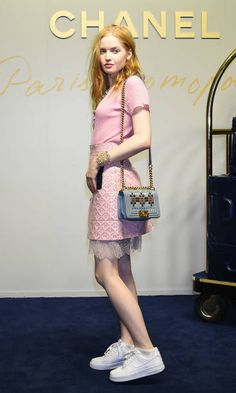 Ellie Bamber attends the CHANEL Metiers D'art Collection Paris Cosmopolite show at the Tsunamachi Mitsui Club on May 31 2017 in Tokyo Japan