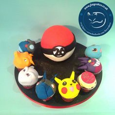 Pokemon themed Birthday Cake with cupcakes, made by The Foxy Cake Company!