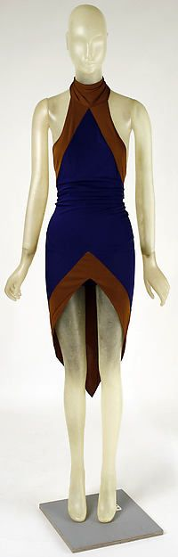 blue and brown halter synthetic dress, asymmetrical hem by Giorgio di Sant'Angelo 1992