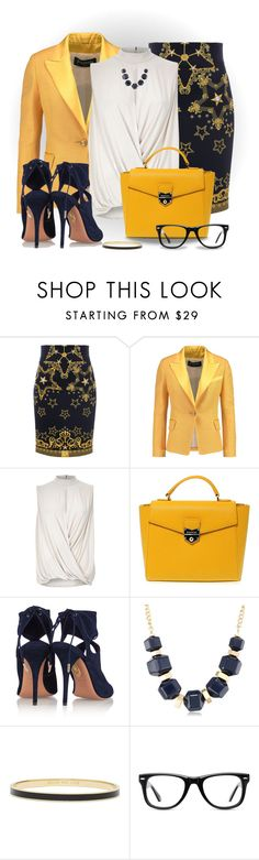 """""""Versace Skirt"""" by snickersmother ❤ liked on Polyvore featuring Versace, Balmain, RGB, River Island, POMIKAKI, Aquazzura, Kenneth Cole, Kate Spade and Muse"""