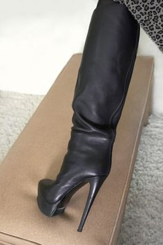 Nando Muzi made in ITALY stiletto high heels platform boots size 37 7 Knee High Stiletto Boots, Black High Boots, High Leather Boots, High Heels Stilettos, High Heel Boots, Knee Boots, Heeled Boots, Bootie Boots, Fashion Boots