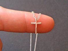 Tiny Cross Necklace 925 Sterling Silver Small Cross Pendant