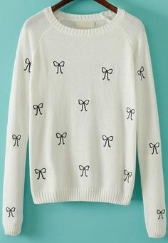 White Long Sleeve Bow Knit Slim Sweater 21.67
