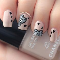 Cute teddy bear with hearts on Valentine's Day nails using Chanel Frenzy 559.