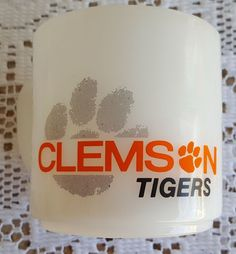 Vintage Clemson Tigers Fire King Red Lobster Promotional Milk Glass Coffee Mug