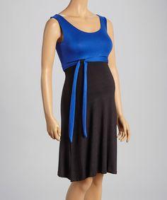 Love this Royal & Black Tie-Waist Maternity Sleeveless Dress on #zulily! #zulilyfinds