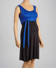 Love this Royal & Black Tie-Waist Maternity Sleeveless Dress on #zulily! #zulilyfinds