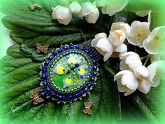 Beadwork Green Pendant Beaded Butterfly Necklace by KristinesBeads (cabochon by Iveta Linde)