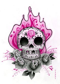 sugar skull tattoos for women  Vicki this is the one I was telling you about, just the skull, and flower in the eyes