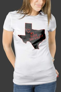 Texas Tech Solid Black We Bleed Red and Black With Heart Women's T-Shirt Slim and Classic Fit