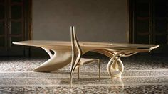 Continuum Table :: alt view with single chair | By Joseph Walsh Studio