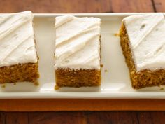 PUMPKIN BARS WITH WHOLE WHEAT FLOUR (try with frosted drizzle instead of cream cheese frosting)