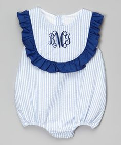 Another great find on #zulily! Blue Seersucker Monogram Bubble Bodysuit - Infant & Toddler by Smocked or Not #zulilyfinds
