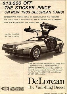 Advertisement for the Delorean vintage car ad. Vintage Advertisements, Vintage Ads, New Delorean, Dmc 12, Roadster, Car Posters, Car Advertising, Us Cars, Sport Cars