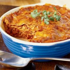 Turkey enchilada casserole--my favorite dish to make, because it's quick, easy and tastes deeeelishus! From Sunset magazine.