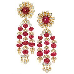 VAN CLEEF & ARPELS A Pair of Ruby and Diamond Ear Pendants | From a unique collection of vintage chandelier earrings at http://www.1stdibs.com/jewelry/earrings/chandelier-earrings/