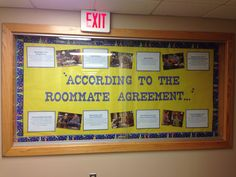 Big Bang Theory themed bulletin board to educate residents on how to effectively live with a roommate.