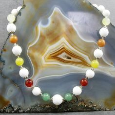 semi-precious necklace handmade from a mix of semi-precious beads, unusual handmade jewellery – Making a Statement Jewellery UK